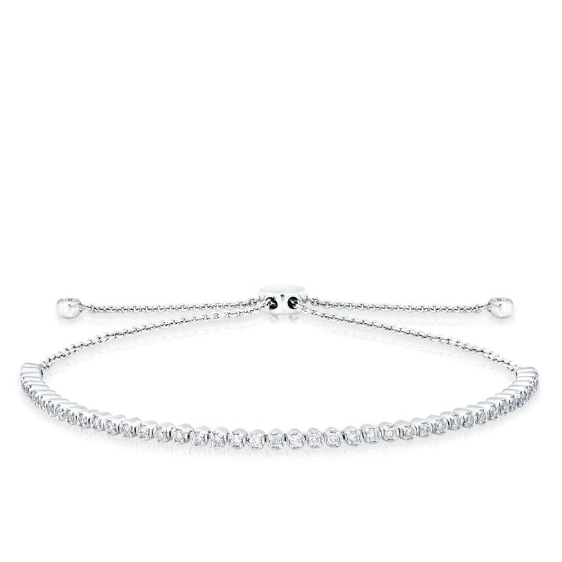 14KT White Gold Diamond Brittany Tennis Tie Up Bracelet