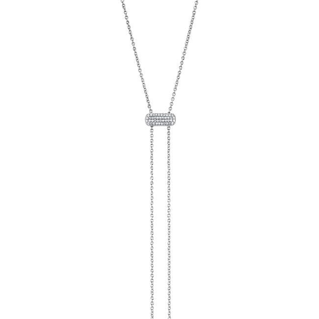 14KT White Gold Diamond Bolo Juliette Necklace