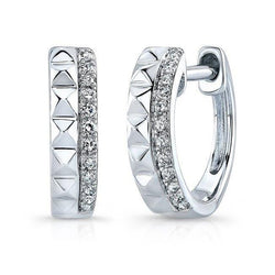 14KT White Gold Spike Diamond Huggie Earrings