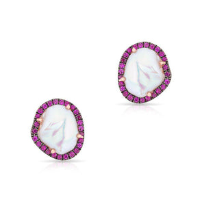 14KT Rose Gold Pink Sapphire and Pearl Earrings