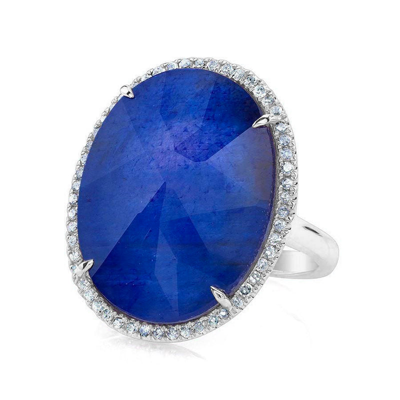 14KT White Gold Sapphire Diamond Oval Doublet Cocktail Ring
