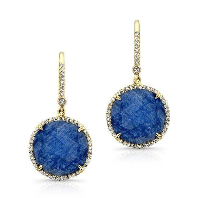 yellow gold blue sapphire diamond round earrings