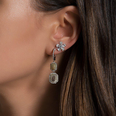 raw diamond drop earrings one of a kind