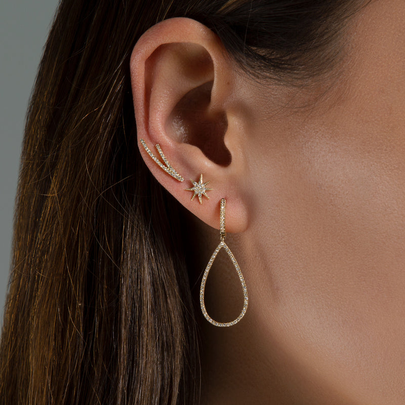 14KT White Gold Diamond Velvet Ear Climber