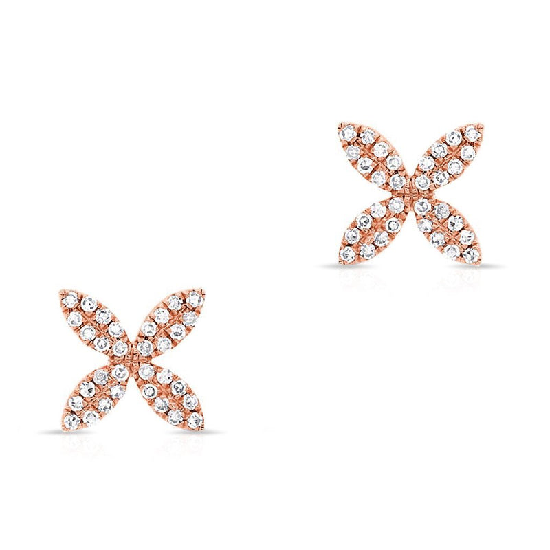 14KT Rose Gold Diamond Flower Earrings