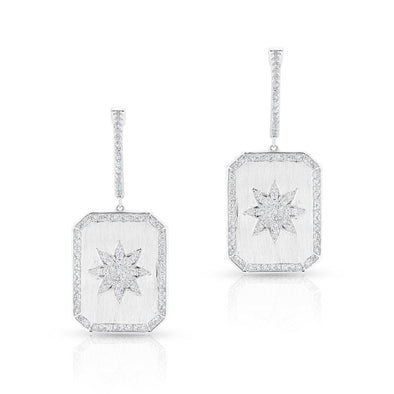 14KT White Gold Diamond Star Charmed Earrings