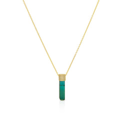 14KT Yellow Gold Green Tourmaline Diamond Necklace