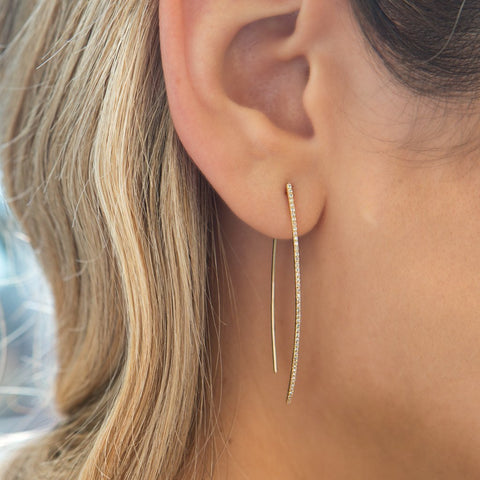 14KT Rose Gold Diamond Wishbone Earrings