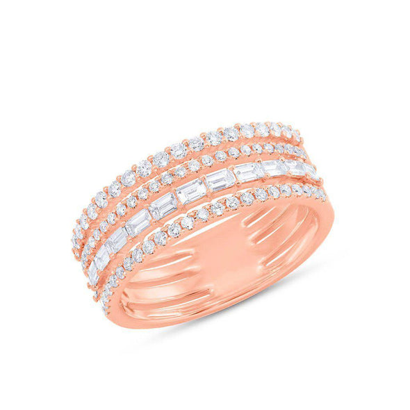 14KT Rose Gold Diamond Baguette Eternity Ring