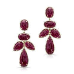 14KT Yellow Gold Ruby Diamond Earrings