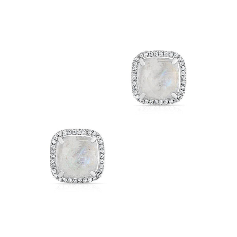 14KT White Gold Moonstone Diamond Square Stud Earrings