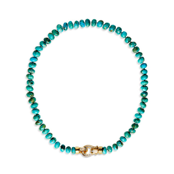 14KT Yellow Gold Diamond Luxe Interlocking Turquoise Necklace