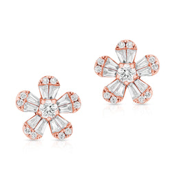 14KT Rose Gold Baguette Diamond Luxe Daisy Stud Earrings