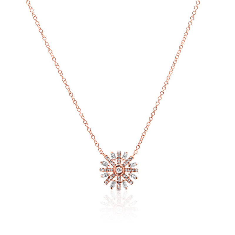 14KT Rose Gold Baguette Diamond Starburst Necklace