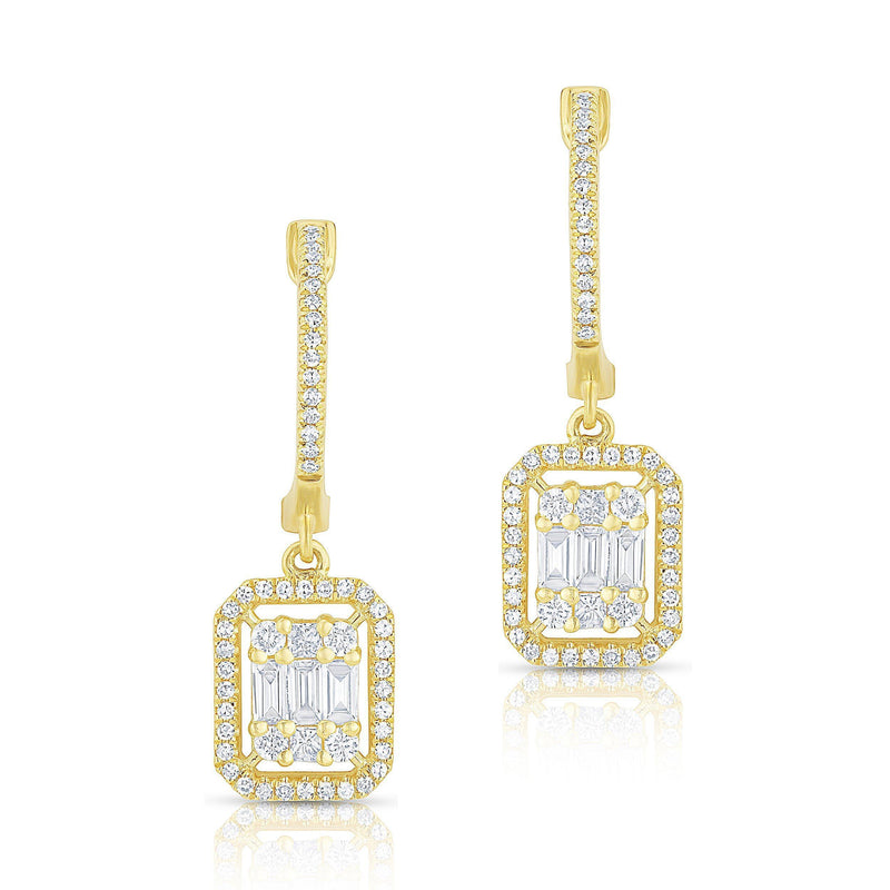 14KT Yellow Gold Baguette Diamond Rectangle Ryleigh Drop Earrings
