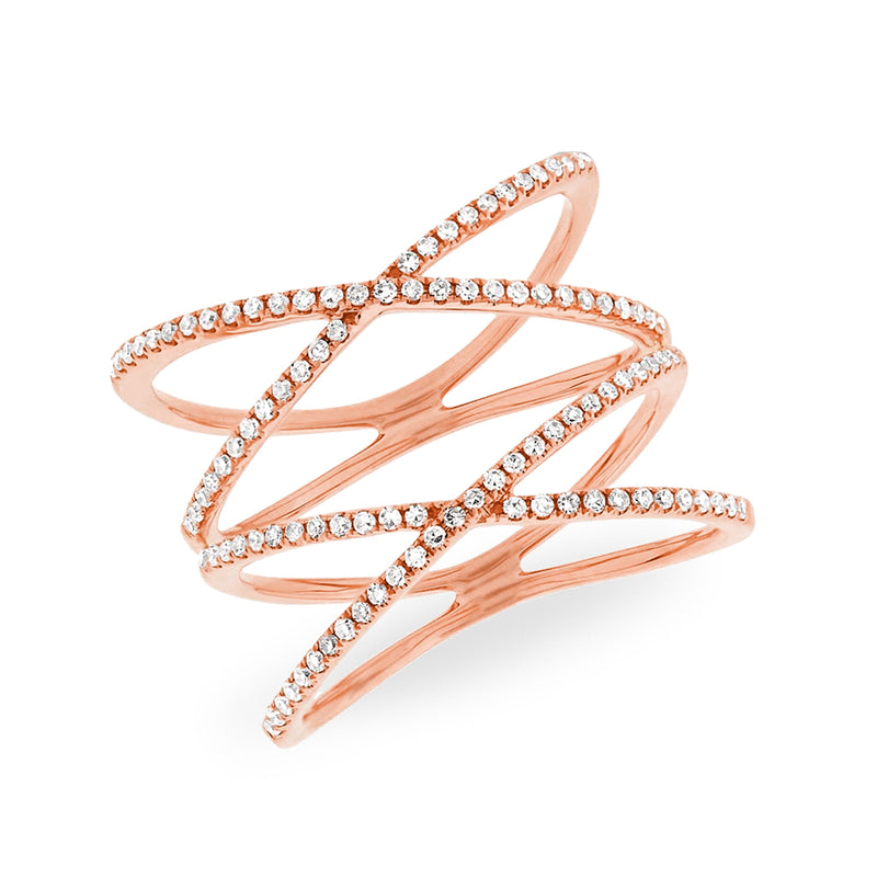 14KT Rose Gold Diamond Double X Ring