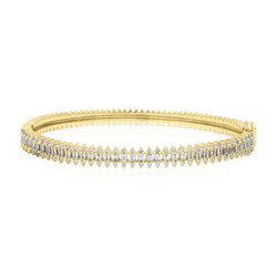 14KT Yellow Gold Baguette Diamond Queen Bangle Bracelet
