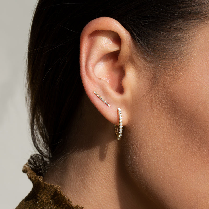 14KT Rose Gold Diamond Bar Ear Climber