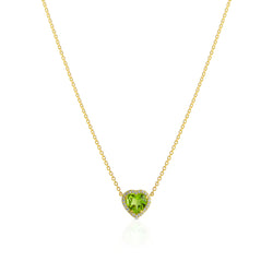18KT Yellow Gold Peridot Diamond Amour Necklace