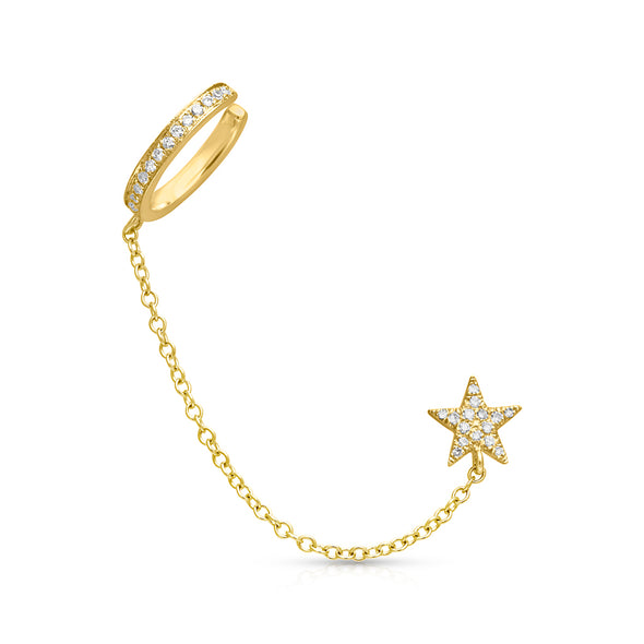 14KT Yellow Gold Diamond Star Stud and Chain Ear Cuff