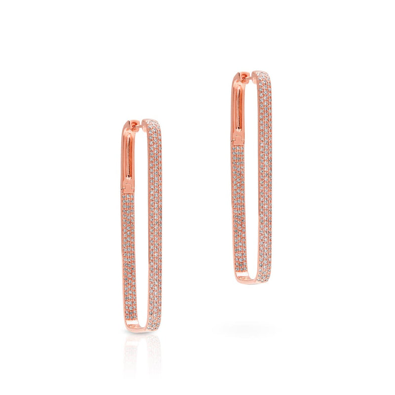 14KT Rose Gold Diamond Rectangle Hoop Earrings