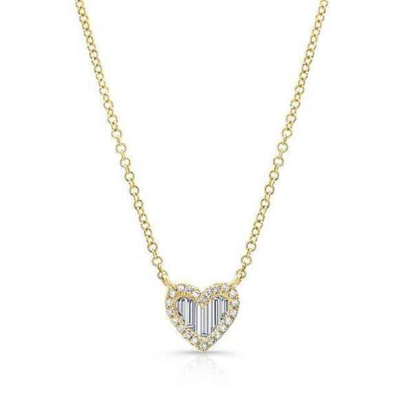 14KT Yellow Gold Baguette Diamond Heart Necklace