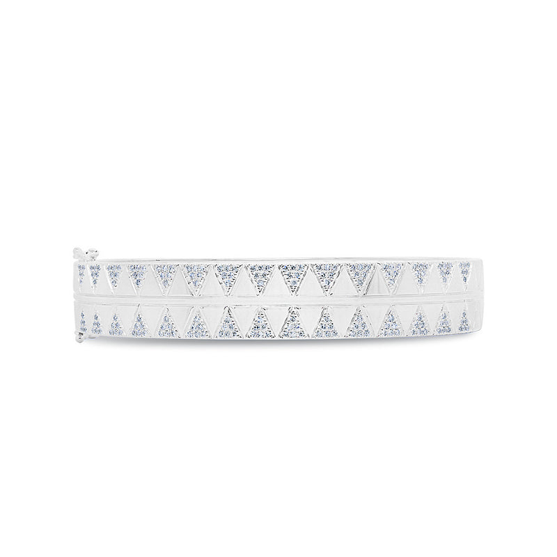 14KT White Gold Diamond Triangles Bangle Bracelet