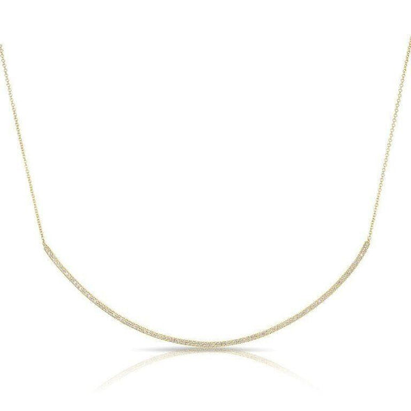 14KT Yellow Gold Diamond Long Thin Crescent Necklace