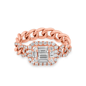 14KT Rose Gold Baguette Diamond Nikolina Ring