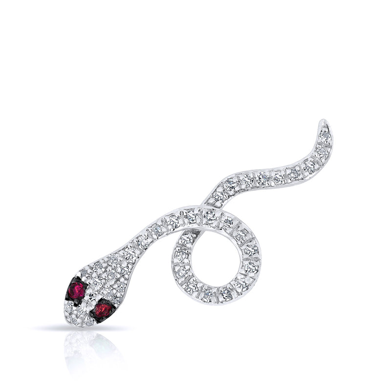14KT White Gold Ruby Snake Ear Climber
