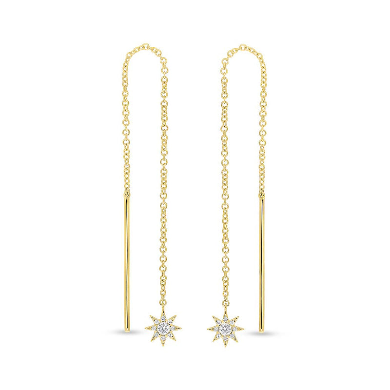 14KT Yellow Gold Diamond North Star Threader Earrings
