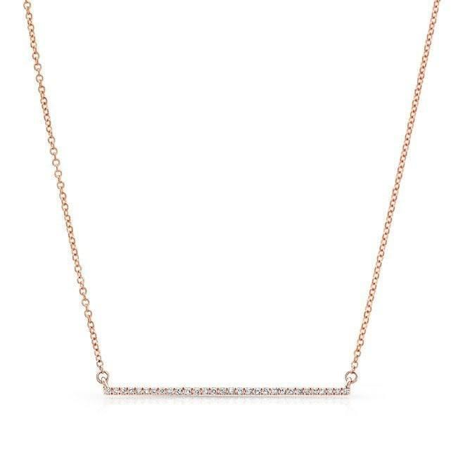 14KT Rose Gold Diamond Thin Bar Necklace