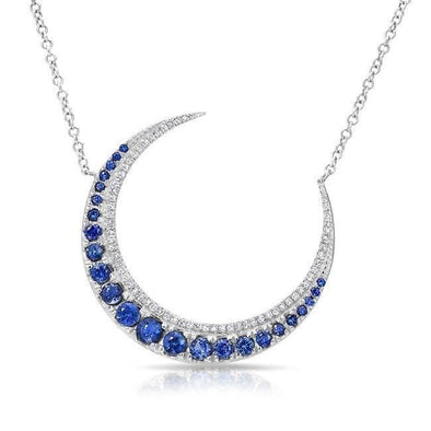 14KT White Gold Sapphire Lunar Diamond Necklace