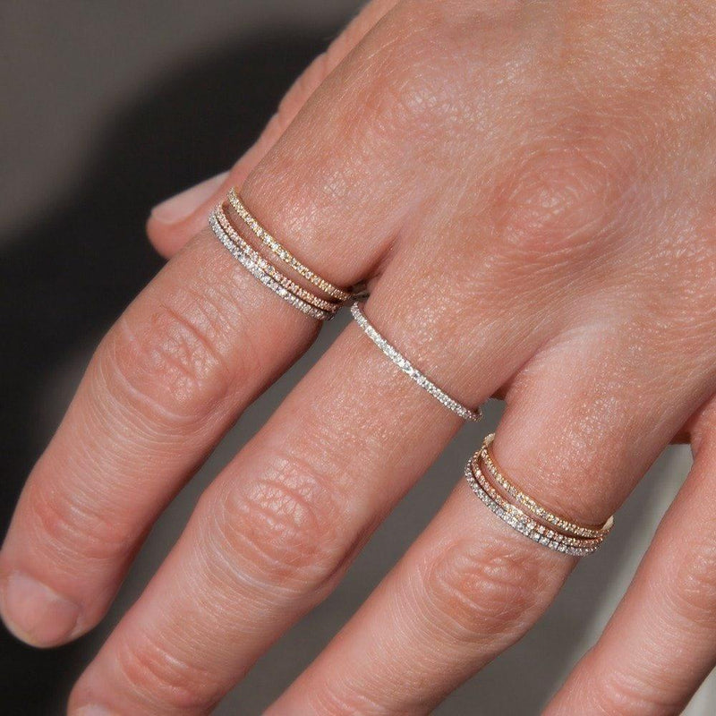 14KT White Gold Diamond Eternity Stacking Ring