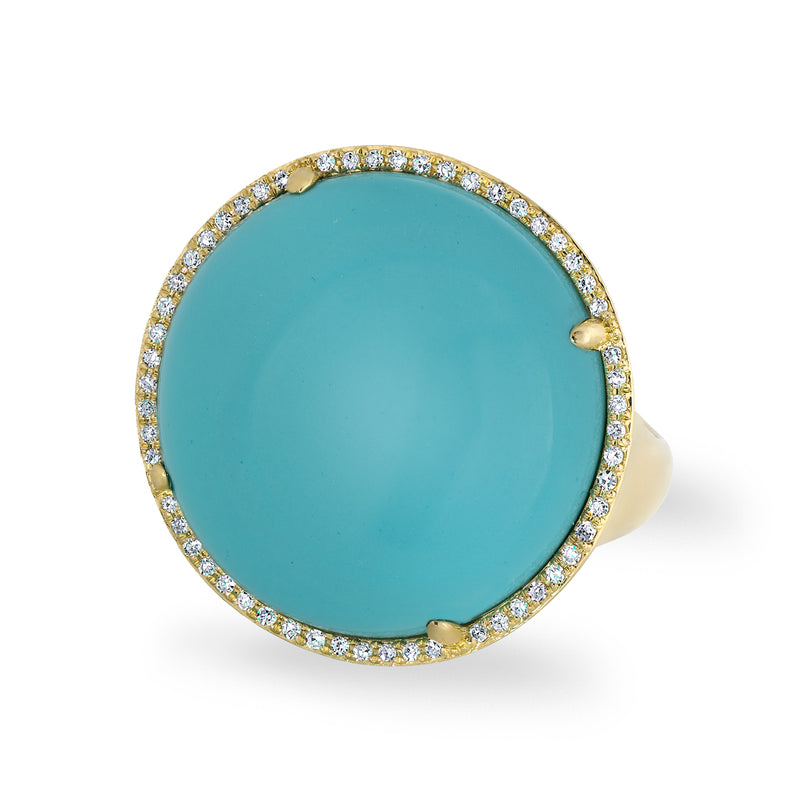 14KT Yellow Gold Diamond Turquoise Round Cocktail Ring