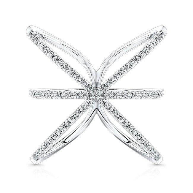 14KT White Gold Diamond Starburst Ring