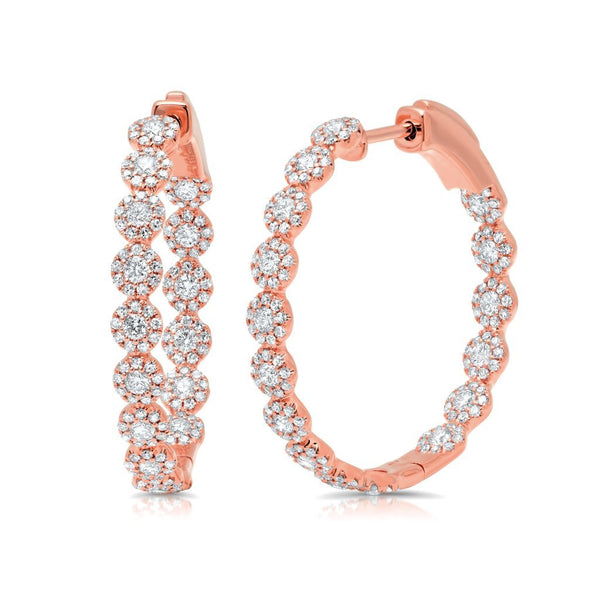 "14KT Rose Gold Diamond Ellie 1.15"" Hoops"