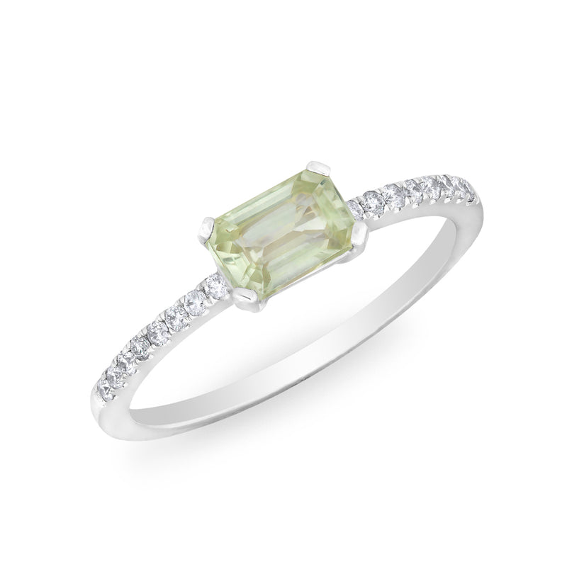 14KT White Gold Green Sapphire Diamond Madeline Ring