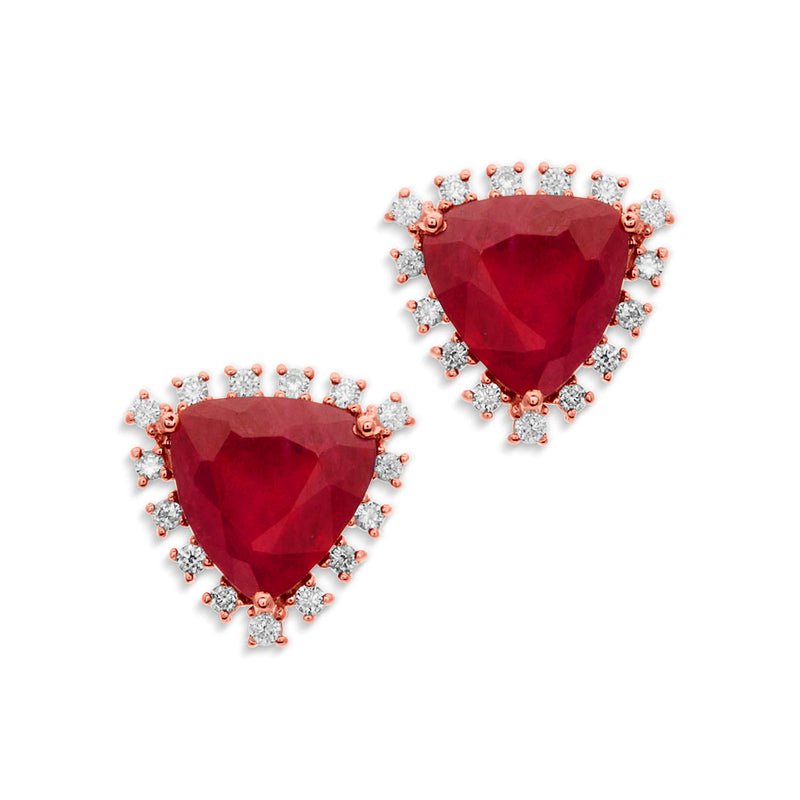 14KT Rose Gold Ruby Diamond Luxe Jasmine Stud Earrings