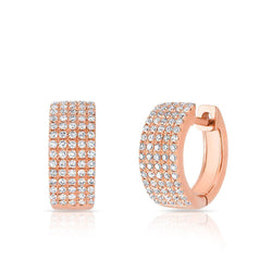 14KT Rose Gold Diamond Pave Kiara Huggie Earrings