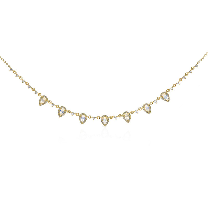 14KT Yellow Gold Moonstone Diamond Aleigha Drop Necklace