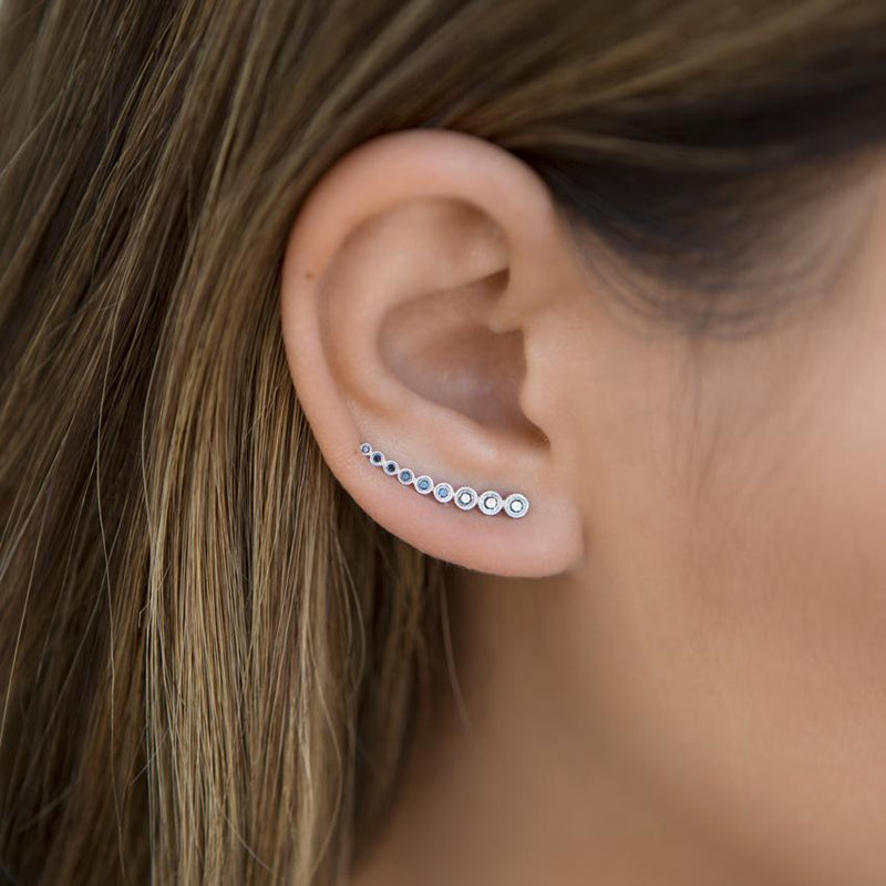 14KT White Gold Black Diamond Shooting Star Ear Climber