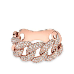 14KT Rose Gold Luxe Light Diamond Chain Link Ring