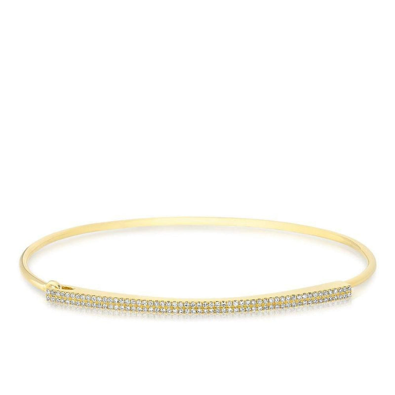 14KT Yellow Gold Diamond Double Bar Latch Bracelet