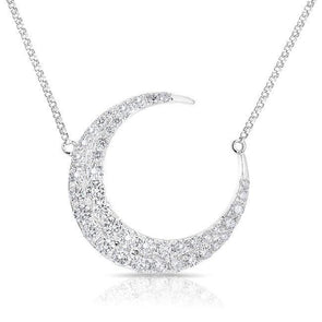 14KT White Gold Diamond Moon With Diamond Chain Necklace