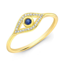 14KT Yellow Gold Diamond Sapphire Open Evil Eye Ring