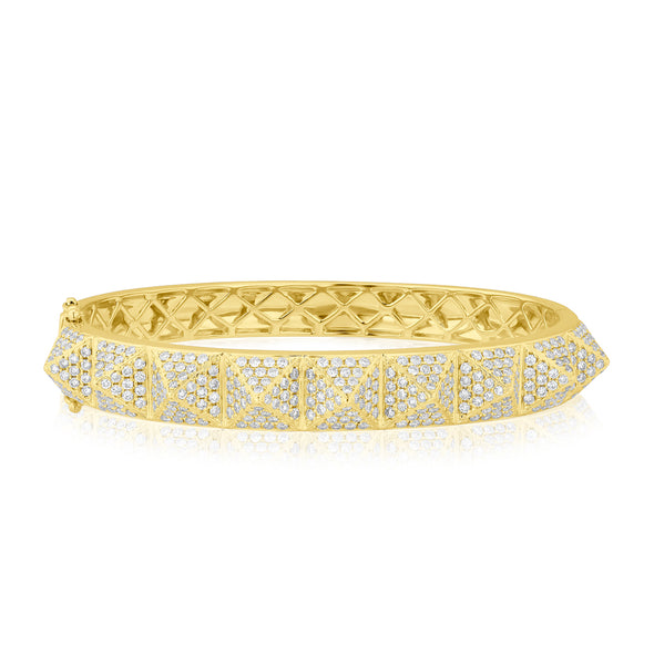 14KT Yellow Gold Diamond Harlow Spike Bangle Bracelet