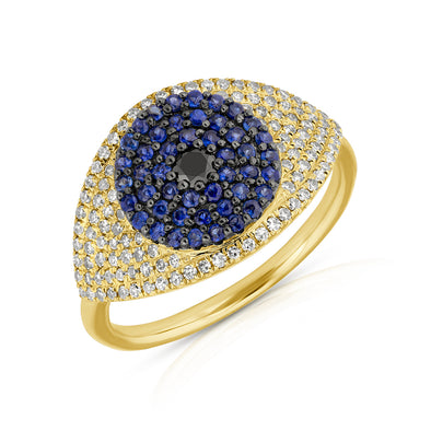 14KT Yellow Gold Diamond And Blue Sapphire Evil Eye Ring