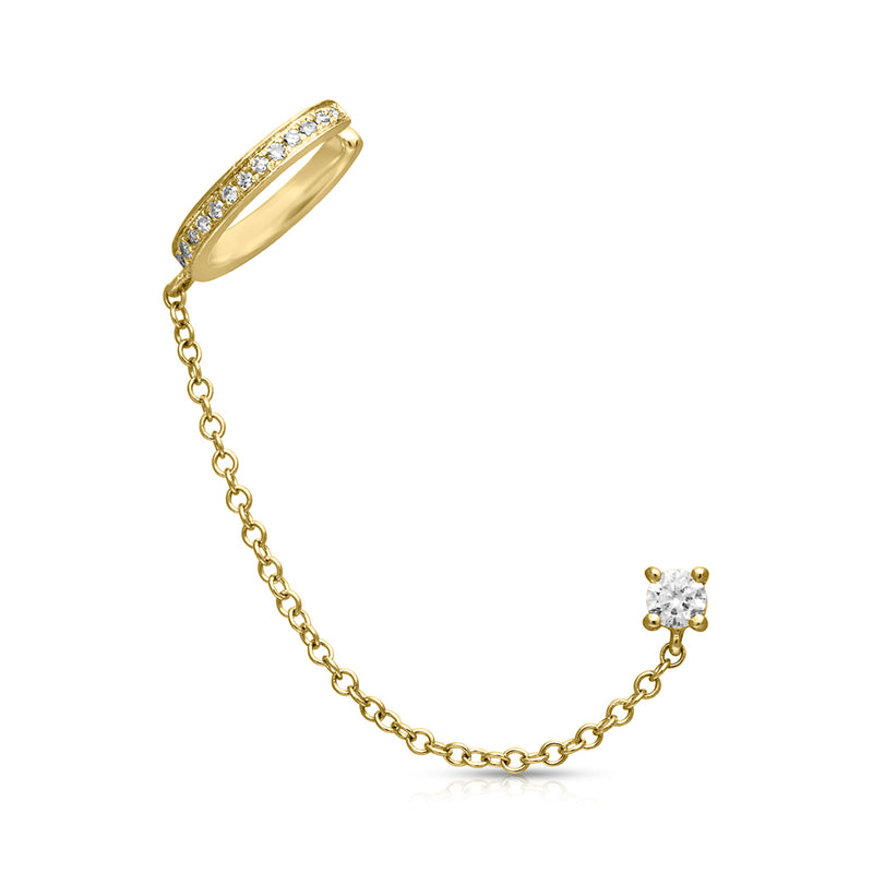 14KT Yellow Gold Round Diamond Stud and Chain Ear Cuff