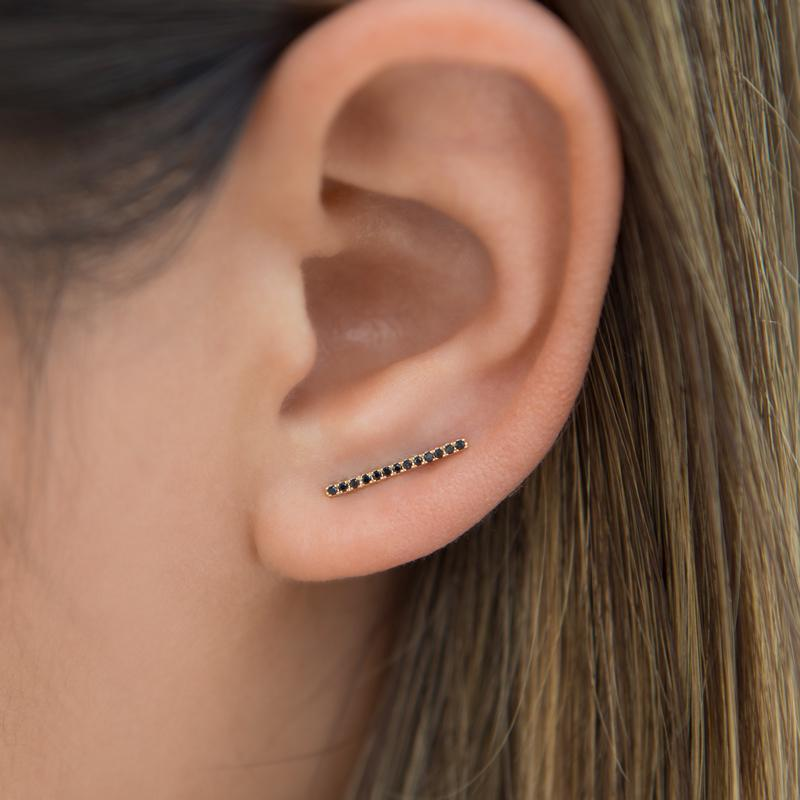 14KT Rose Gold Black Diamond Bar Ear Climber-Anne Sisteron